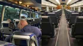 Imagen de un autobús y un tren durante los días del Estado de Alarma.