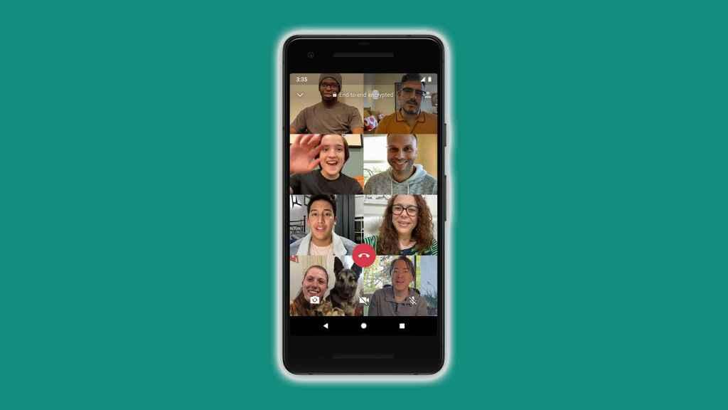 Ejemplo de videollamada con 8 personas.