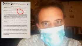 Ignacio y uno de los documentos que le ha dado Sanidad sobre su participación en el estudio serológico.