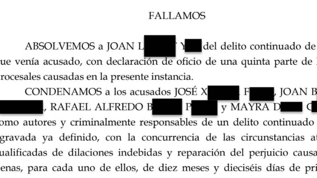 Extracto de la sentencia condenatoria de Mayra Dagà Castillo.