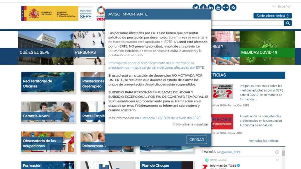 La web del SEPE con el aviso para las empleadas del hogar.