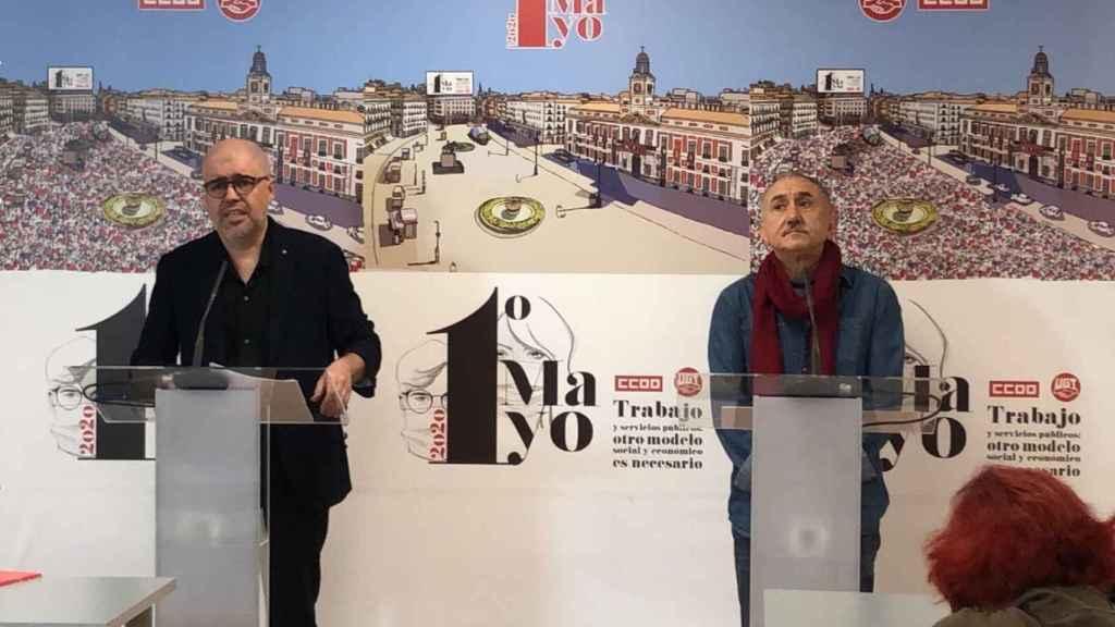 El secretario general de CCOO, Unai Sordo, y el de UGT, Pepe Álvarez.