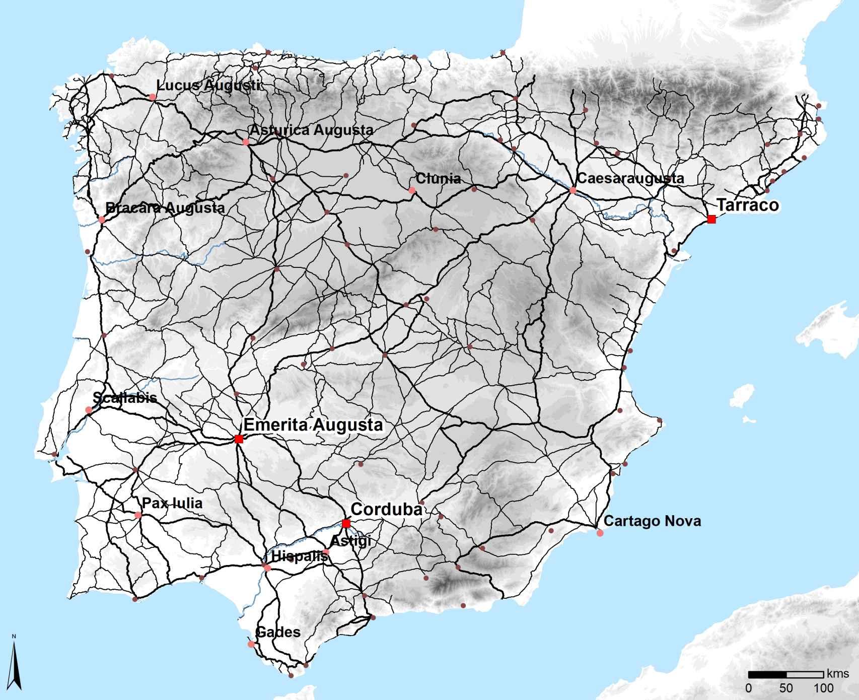 Mapa de las calzadas romanas en Hispania.