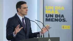 Pedro Sánchez, presidente del Gobierno, este sábado en Moncloa.