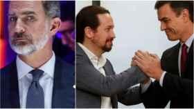 El Rey Felipe VI e Iglesias y Sánchez durante el acuerdo del gobierno de coalición