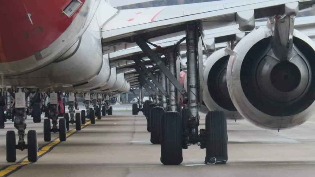Aviones de Iberia aparcados.