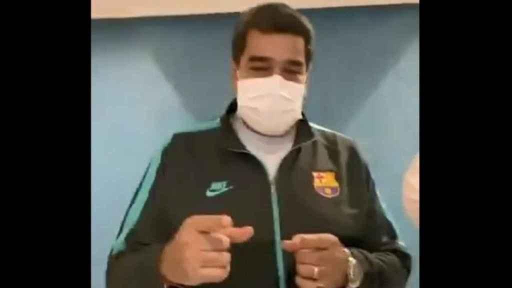 Nicolás Maduro, con el chándal del Barcelona