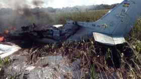Los restos de la avioneta siniestrada en la región amazónica de Beni.