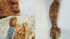 Los restos de huesos y armamento documentados en Irán.