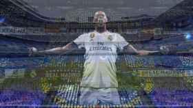 Montaje con el Santiago Bernabéu y un tifo de la grada en el FIFA 19