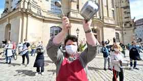 Protestas en la ciudad de Dresde (Sajonia) por la difícil situación del sector hostelero y de restauración por la pandemia.