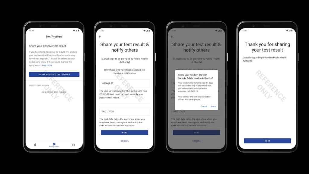 Un usuario comparte los resultados de su test del COVID-19 usando una app para Android de ejemplo