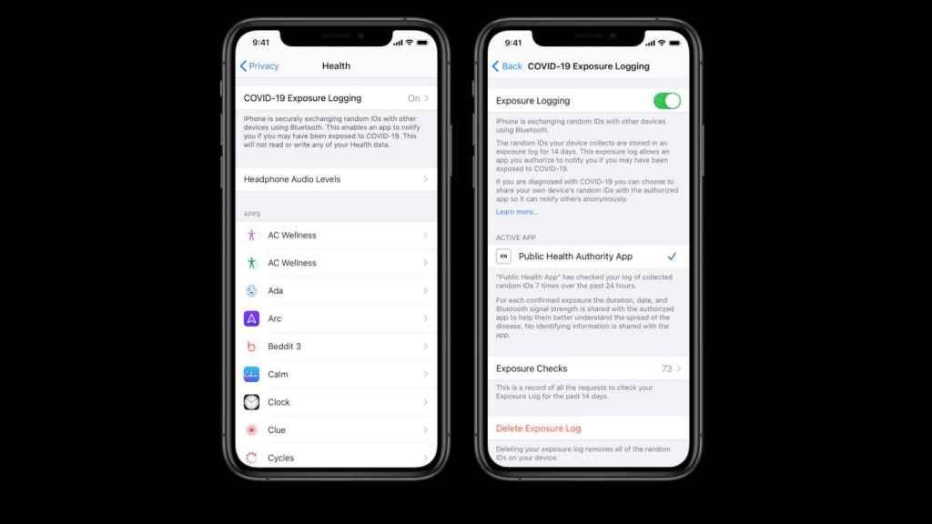 Configuración de la privacidad de rastreo del coronavirus en iOS
