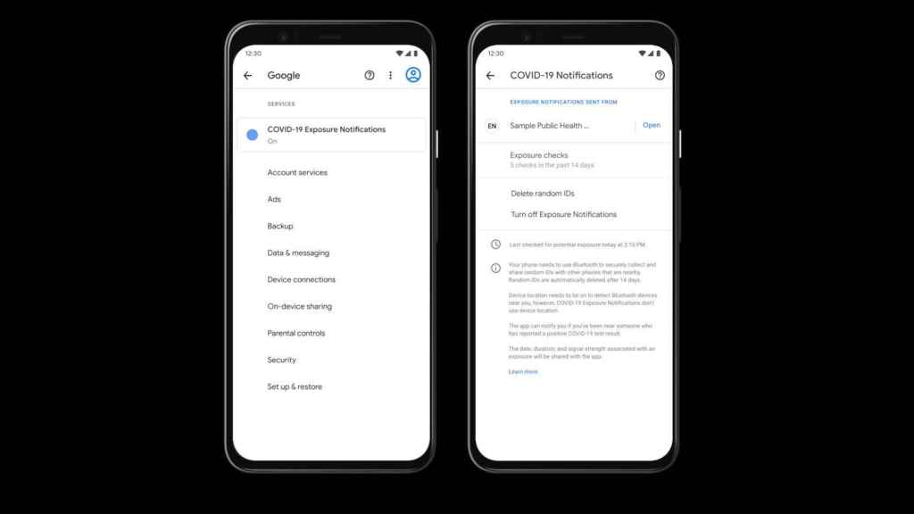 Configuración de la privacidad de las apps del coronavirus en Android