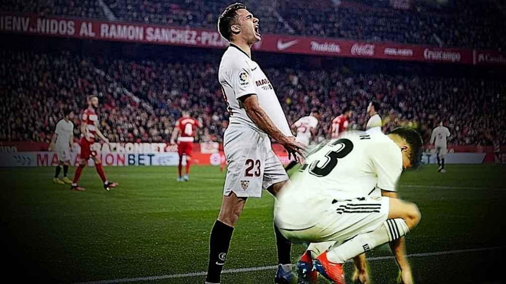 Sergio Reguilón, durante un partido con el Sevilla y con el Real Madrid