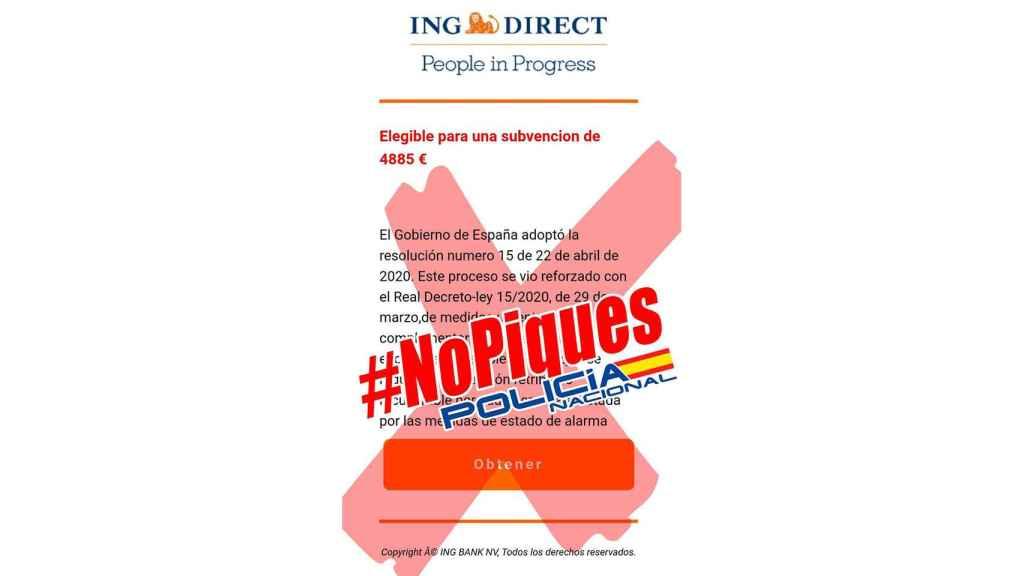 Fotomontaje negando el mail falso de ING.