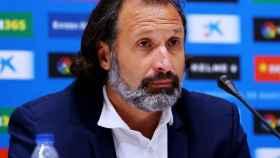 Rufete, durante una rueda de prensa del Espanyol
