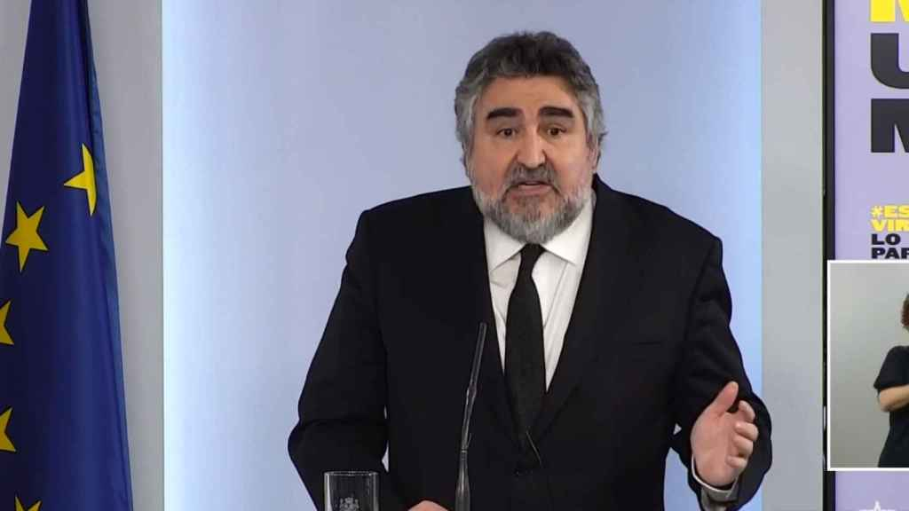 Manuel Rodríguez Uribes, ministro de Cultura, en rueda de prensa.