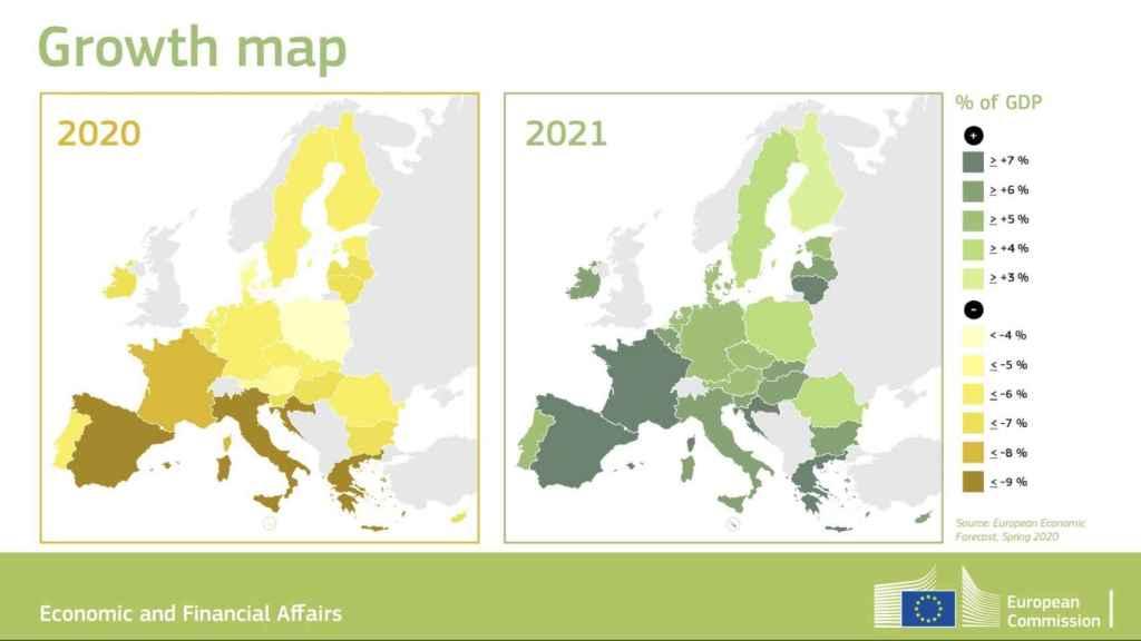 Mapa de crecimiento para 2020 y 2021 en la UE