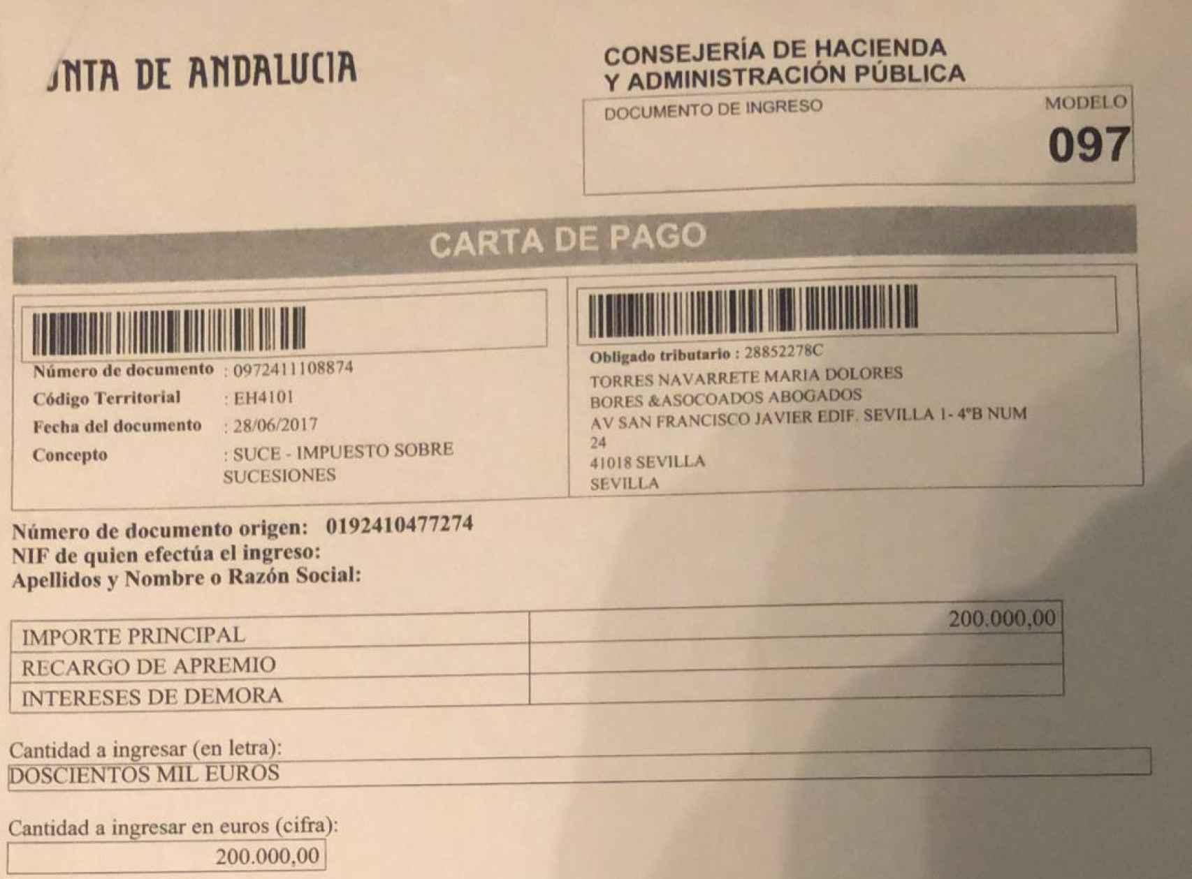 Documento de pago del impuesto de sucesiones a la Junta de Andalucía.