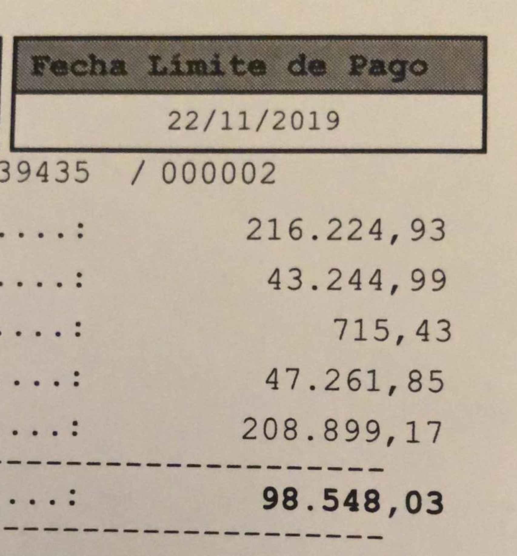El pago del interés por la deuda del impuesto de sucesiones, a finales de 2019.
