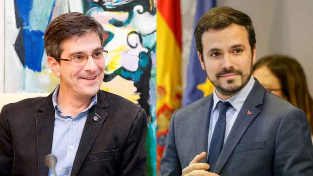 Mikel Arana, a la izquierda, junto al ministro de Consumo, Alberto Garzón.