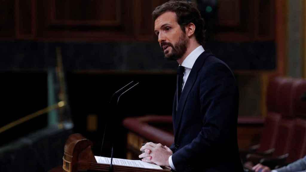 El presidente del PP, Pablo Casado, en el Congreso de los Diputados este miércoles.