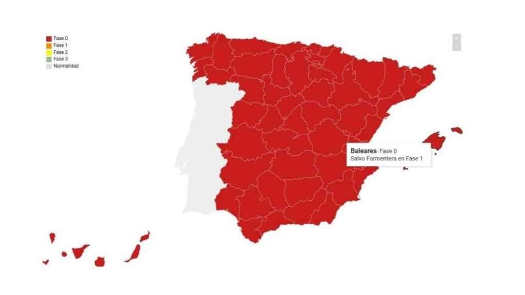 Mapa publicado por el RACE.