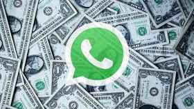 Fotomontaje con dinero y WhatsApp.
