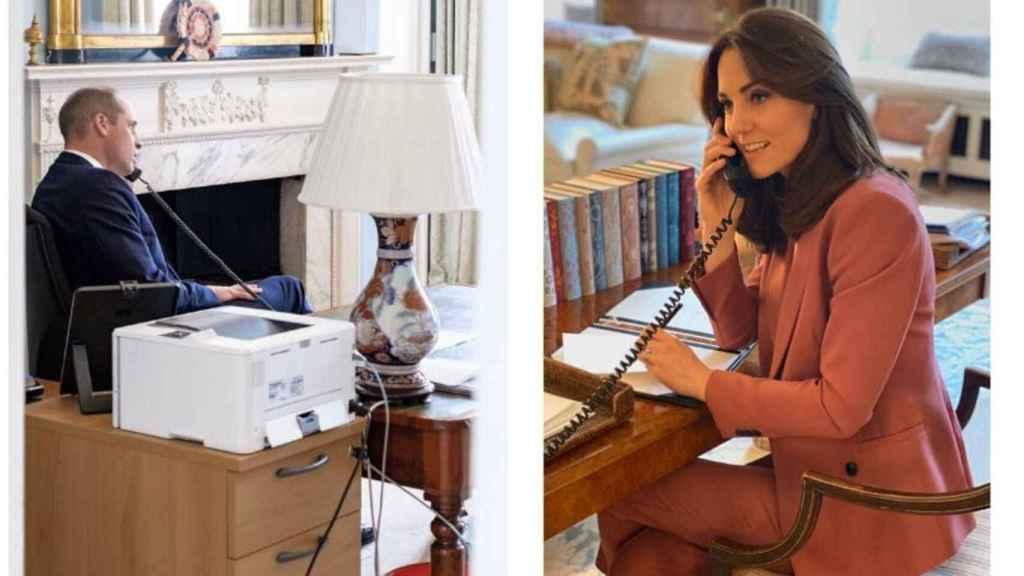 Los duques de Cambridge teletrabajando durante sus respectivos despachos en tiempos de coronavirus.