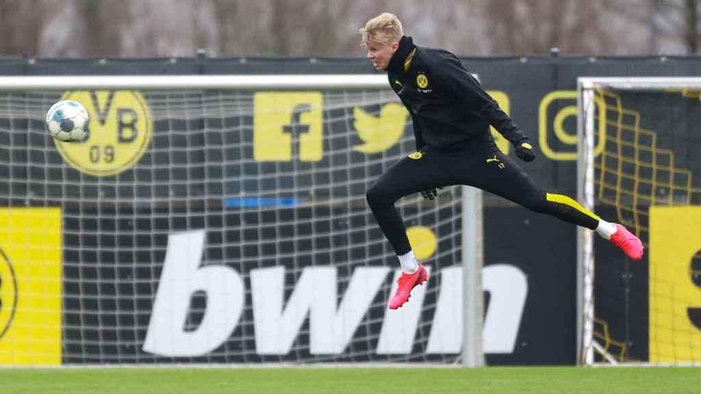 Erling Haaland, durante un entrenamiento del Borussia