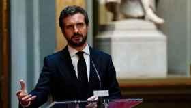 El presidente del PP, Pablo Casado, en el Senado.