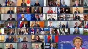 Videconferencia entre los primeros ministros de las principales naciones.