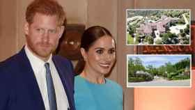 Meghan y Harry en montaje de JALEOS junto a dos imágenes de su nueva casa.