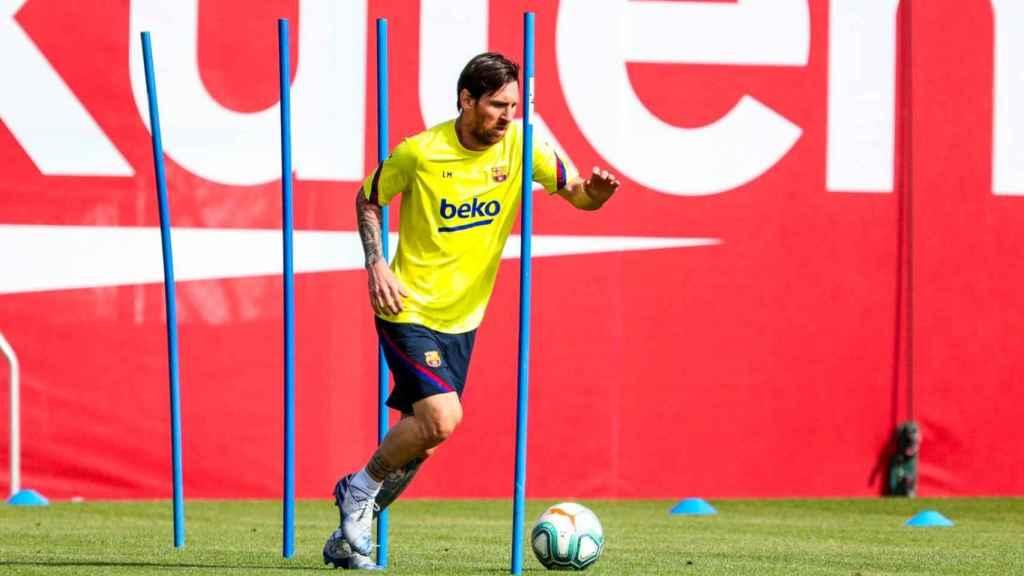 Messi, entrenando durante el primer día tras el confinamiento