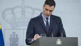 El presidente del Gobierno, Pedro Sánchez, durante su comparecencia en televisión.