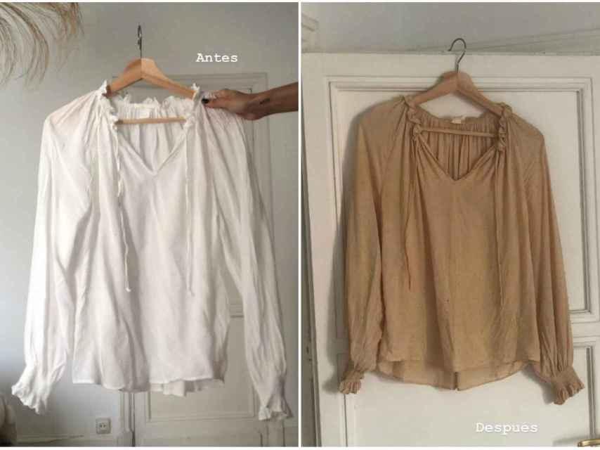 La camisa de Itziar Aguilera, antes y después de teñirla con cebolla.