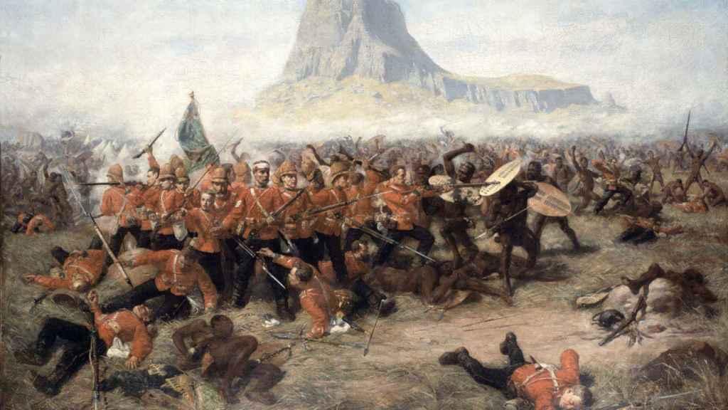 'La batalla de Isandlwana', un lienzo de Charles Edwin Fripp.