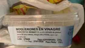 Uno de los envases de boquerones retirados por encontrarse en mal estado