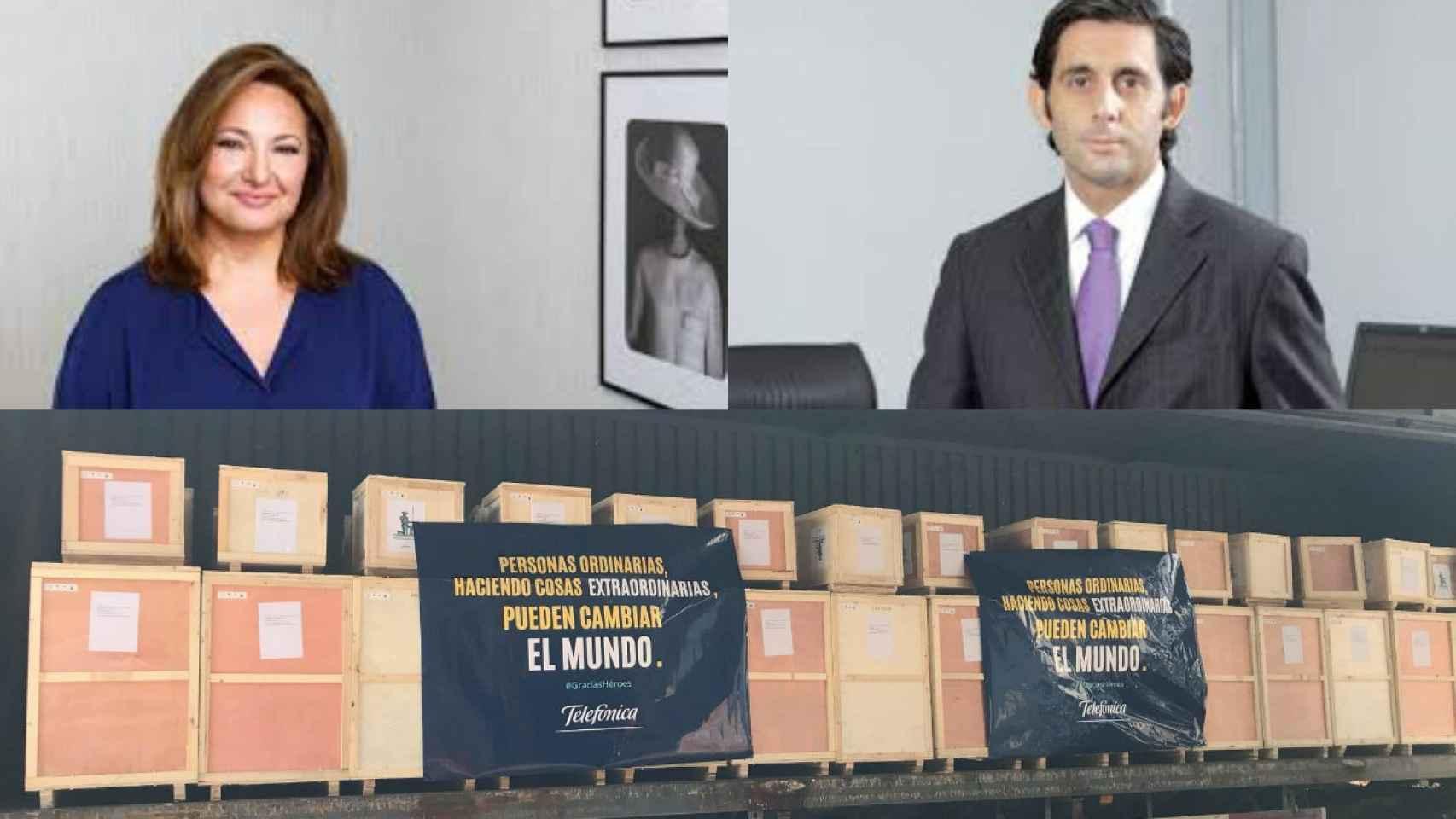 Marta Álvarez, presidenta de El Corte Inglés; José María Álvarez-Pallete, presidente de Telefónica. Abajo una imagen del cargamento que han traído algunas empresas.
