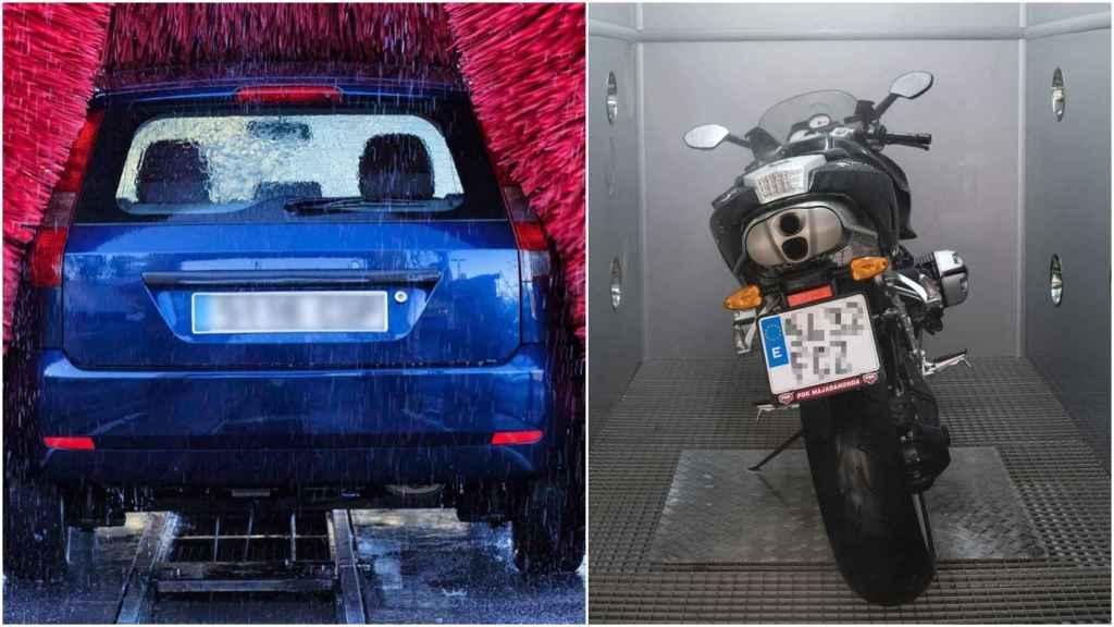 Túnel de lavado y moto.