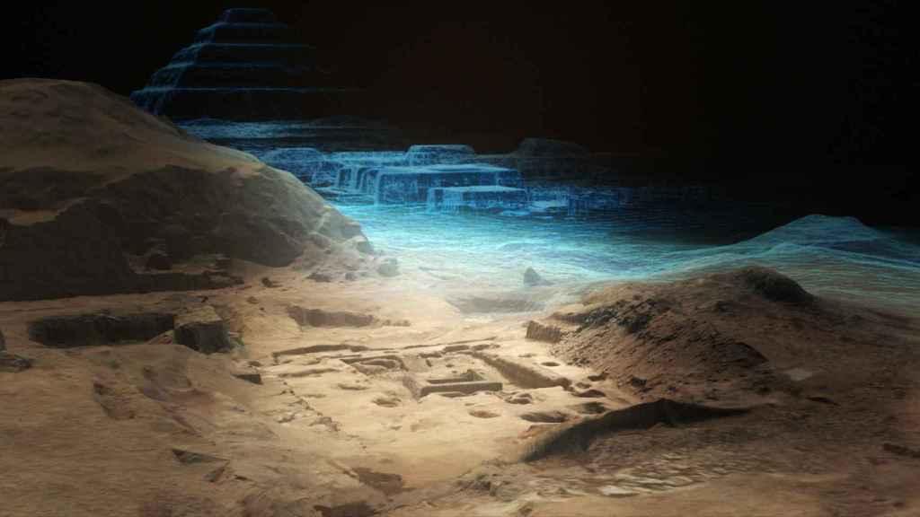 Reconstruccion virtual del complejo funerario de Saqqara.