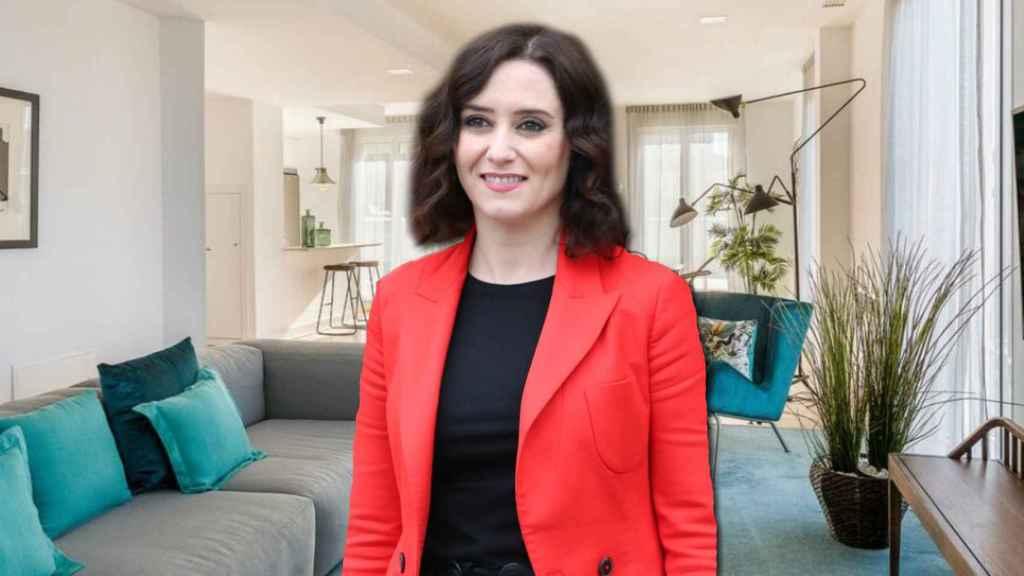 Isabel Díaz Ayuso, en un montaje de Jaleos en su suite.