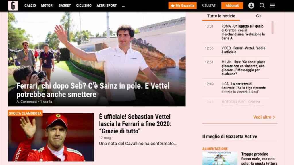 Carlos Sainz, en La Gazzetta dello Sport
