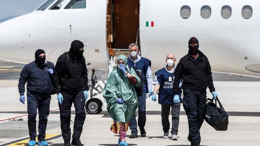 La llegada a Italia de Silvia Romano, este domingo.