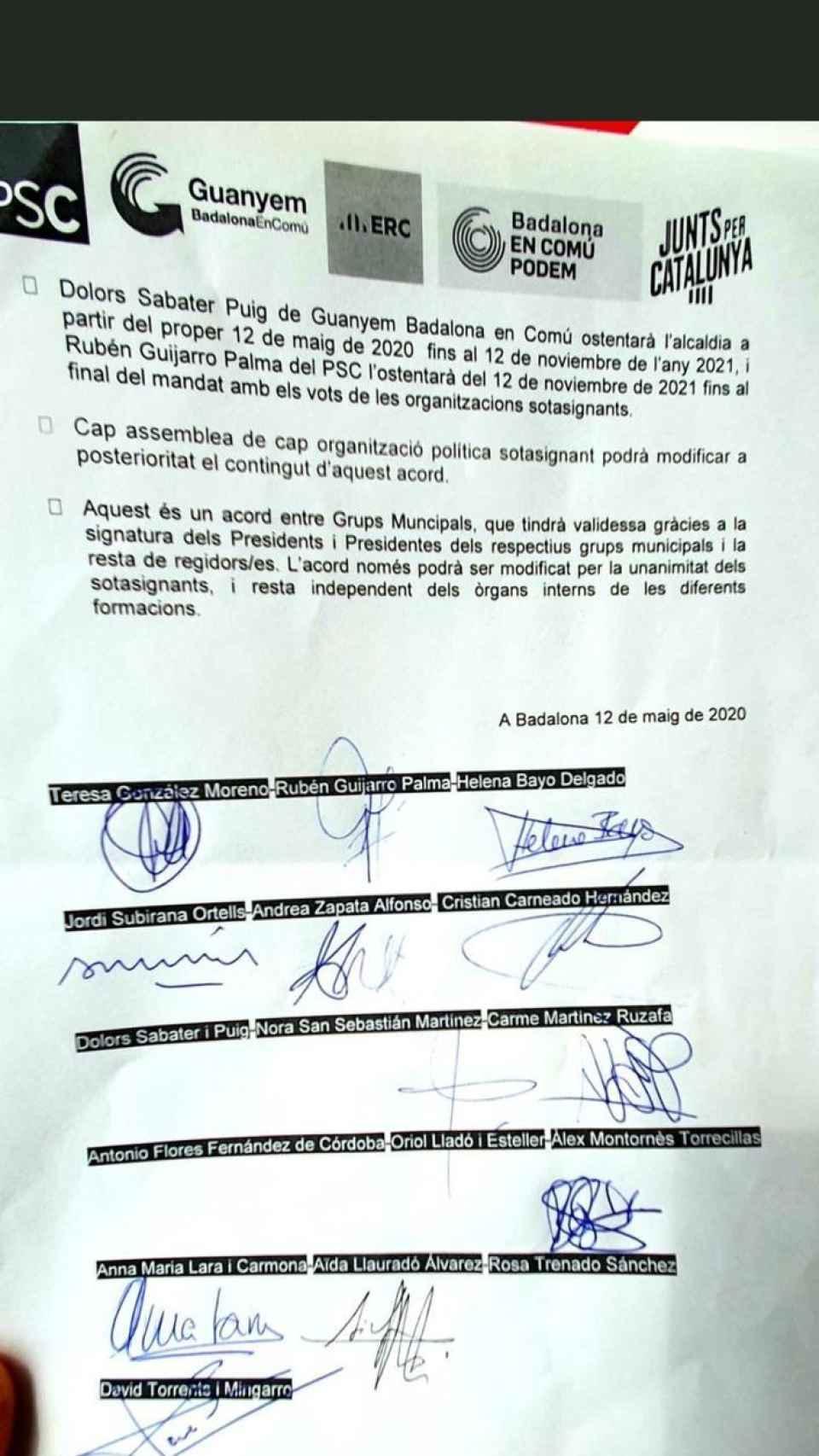 El pacto con las 4 firmas pendientes