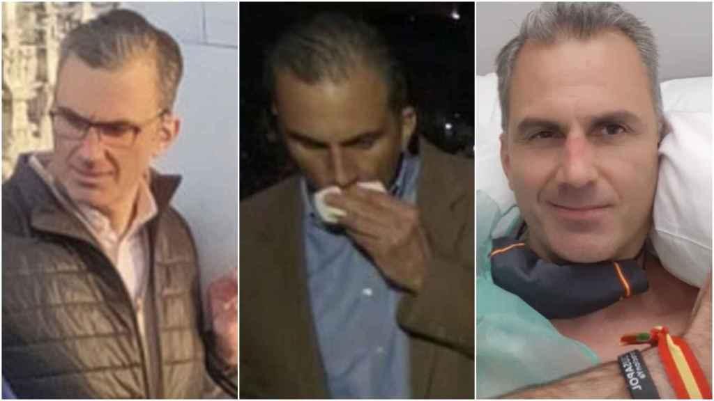 Ortega Smith (de izquierda a derecha) en Milán, en Vistalegre III y en el hospital este martes.