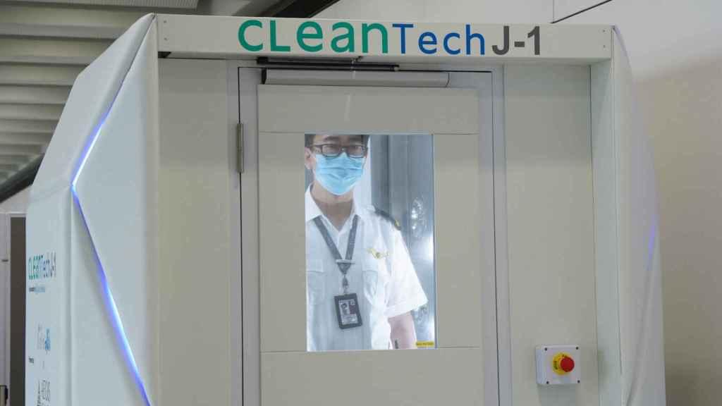 En Hong Kong ya tienen cabinas desinfectantes en aeropuertos