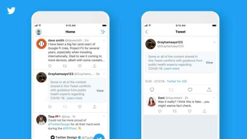 Twitter, como otras redes sociales, implementó avisos sobre el coronavirus