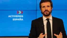 El presidente del PP, Pablo Casado, en la sede de Génova.